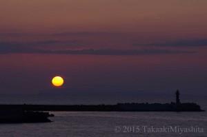 北海道 稚内 夕日と灯台